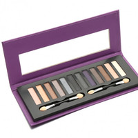 12 Colors Eyeshadow Makeup Cosmetic Matte Shimmer Eye Shadow Palette With Eye Shadow Sponge