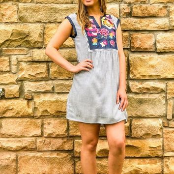 Tourist In This Town Floral Embroidered Denim Blue Stripe Dress