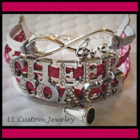 Infinity/Love CHEER COACH Rhinestone Suede/Leather Multistrand Bracelet w/ Megaphone - Football, Dance, Hockey, Sport Mom, Music, sports