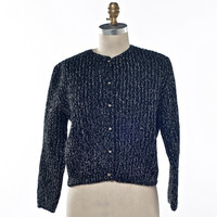 Glam School 60's Cardigan Black and Silver Knit Wondamere Size Medium