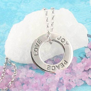 Peace Love Joy Circle Necklace in Sterling Silver