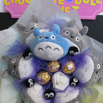 Totoro plush doll, Soot dusts, Chu & Ferrero Rocher Chocolate Flower Bouquet. Great Birthday gift for her.