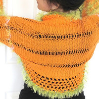 Bright orange shrug with with lime green fur, hand knit with crochet edges,spring outerwear