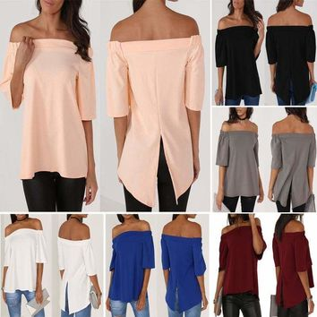 Womens Off Shoulder Summer Tops Blouse Strapless Hi-Lo T-Shirt Casual Tee Shirts