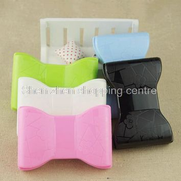 Bowknot contact lens case for eyes plastic glasses box for lenses with mirror women cute cosmetic box