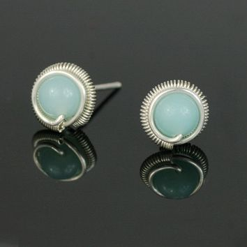 Sterling silver amazonite stone stud earrings Bridesmaid gifts Free US Shipping handmade Anni designs