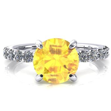 Alessi Round Yellow Sapphire 4 Claw Prong 3/4 Micro Pave Engagement Ring