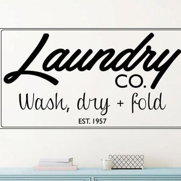 Laundry Company Wash Dry Fold Vintage Style Vinyl Wall Decal
