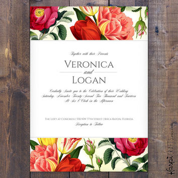 Elegant flowers wedding invitation - printed invitation - printable invitation - Customize with your wedding colors