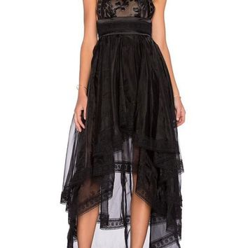Black Grenadine Draped Irregular Flowy High-low Banquet Elegant Party Maxi Dress