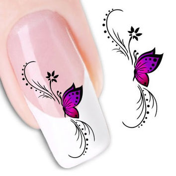 One Sheet Butterfly Pattern Water Transfer Printing Nail Sticker