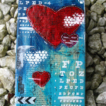 "Custom Made Heart Talk Mixed Media Canvas: Blue, Red and White 6""x12"" inches"