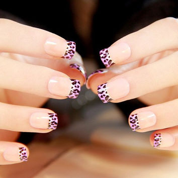 24 PCS Purple Leopard Pattern Nail Art