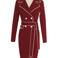 Wine Red Lapel Belted Long Sleeve Bodycon Dress
