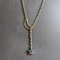 Moon Star Lariat Necklace- Antique Brass Vintage Bronze Galaxy Galactic Space Charm Pendant Rainbow Drop Choker