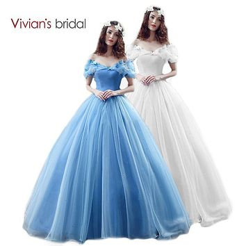 Vivian's Bridal New Movie Deluxe Adult Cinderella Wedding Dresses Blue Cinderella Ball Gown Wedding Dress Bridal Dress 26240