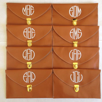 Monogram Bridesmaid Clutch, Monogrammed Bridal Gift, Personalized Leather Purse, Fall Wedding Gift Idea