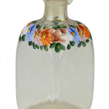 Painted Square Glass Whisky Decanter Antique English circa 1830 (2 Available)