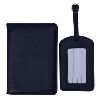 Genuine Leather Passport Cover + Luggage Tag Travel Accessories Passport Holder Passport Bag Tags Name Tag High Quality