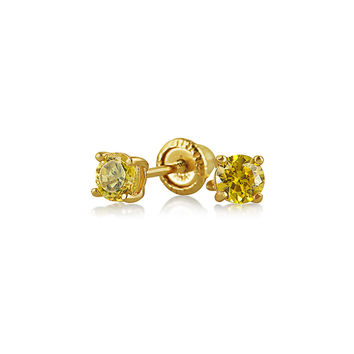 Bling Jewelry Yellow Babe Studs