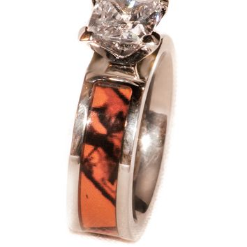 orange camouflage wedding engagement ring titanium - Orange Camo Wedding Rings