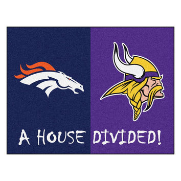 Denver Broncos-Minnesota Vikings NFL House Divided NFL All-Star Floor Mat (34x45)