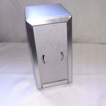 Restaurant Napkin Holder, Metal Holder, silver tone, Double sided, 1960s