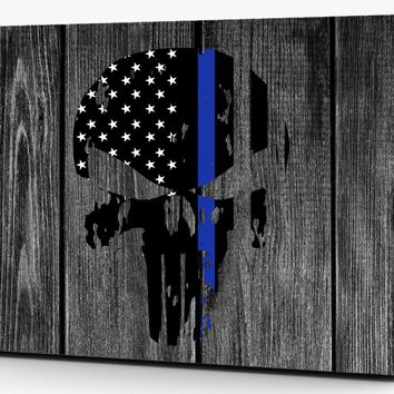 Punisher Distressed Thin Blue Line Vinyl Laptop Computer Skin Sticker Decal Wrap Macbook Various Sizes