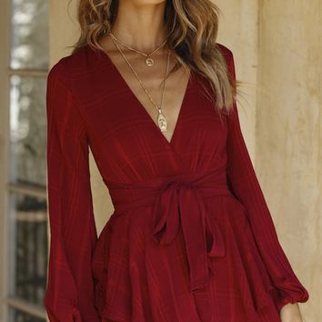 Playing It Cool Wine Red Plaid Pattern Long Sleeve Cross Wrap V Neck Tie Waist Ruffle Tiered Romper Playsuit
