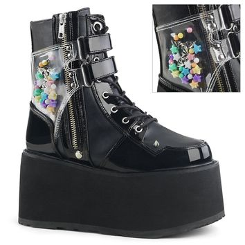 Demonia - DAMNED-115 - Black Vegan Leather-Black Patent - Women's Ankle Boots