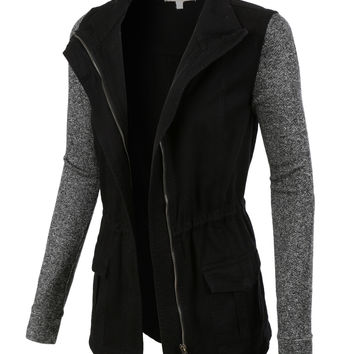 LE3NO Womens Lightweight Military Anorak Jacket with Detachable Hoodie
