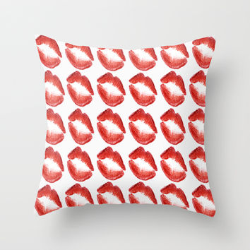 lips_duvet_cover,lips,love,people,red,hot_item Throw Pillow by Ira Gora