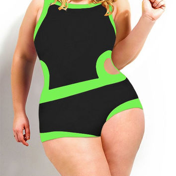 Color Block Cut Out Plus Size Swimwear