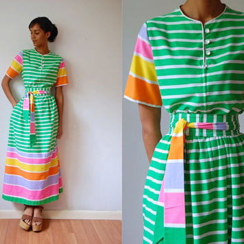 Vtg 60's Neon Stripes Cotton Green Maxi Retro Dress