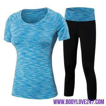Gym Fitness Yoga Set Workout Running Tracksuits Compression Leggings/Shirts