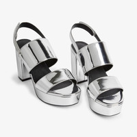 Metallic platform heels - Silvery metallic - Shoes - Monki GB