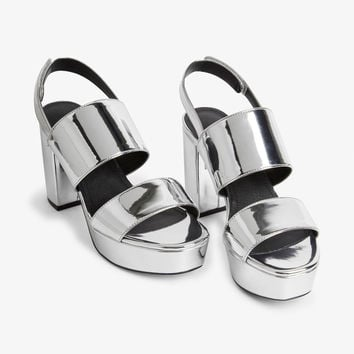 313afea6831 Metallic platform heels - Silvery metallic - Shoes - Monki GB