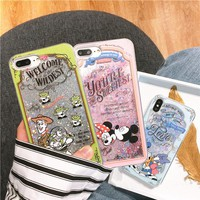 For iPhone X Cartoon Mickey Mouse Minnie Duck Toy Alien Glitter Liquid Cover Case For iPhone 8 6 6S 7 Plus