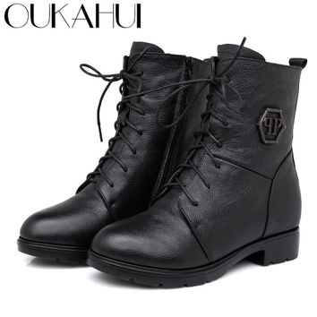 OUKAHUI Square Med Heel Winter Women'S Genuine Leather Boots Round Toe Classic Black Lace-Up Warm Zip Lady Martin Boots Winter