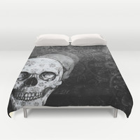 Not here floral skull Duvet Cover by Kristy Patterson Design