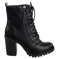 Malia Military Lace Up Combat Ankle Boot On Chunky Block Heel Lug Sole Bootie