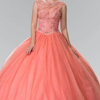 Sheer and Beaded Bodice Quinceañera Dress with Open Corset Back GL 2352