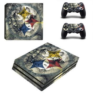 Pittsburgh Steelers PS4 Pro Skin Sticker Decal for Sony PlayStation 4 Console and 2 Controller PS4 Pro Skin Sticker Vinyl