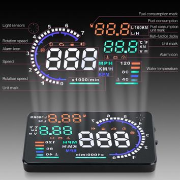 A8 5.5 inches HUD Head Up Multifunction Display OBD2 KM/h MPH RPM Overspeed  Warning Temperature