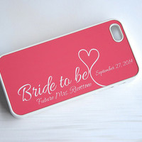 Bride to Be in Coral Pink + White + Wedding Date iPhone Case