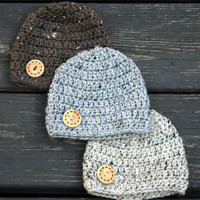 Baby hats for boy natural tweed gray, brown, tan with wood button accent set of three crochet newborn 0-3 month photo prop