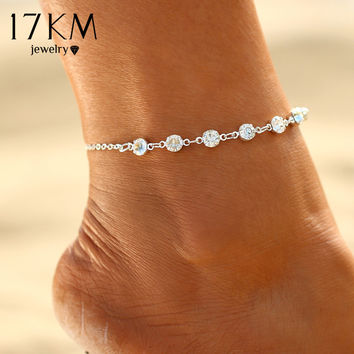 Vintage Fashion Imitation Pearl Crystal Anklets For Women Stainless Steel Shoe Boot Chain Bracelet Foot Jewelry 2017