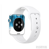 The Brushed Vivid Blue & White Background Full-Body Skin Kit for the Apple Watch