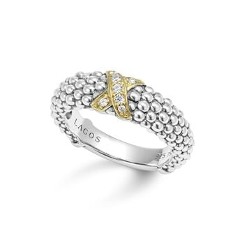 LAGOS 18K Gold and Sterling Silver X Collection Diamond Caviar Ring | Bloomingdales's