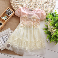 Summer Girls Children Candy Color Lace TUTU Dress With 5 Flower Girl Kids Embroidered Short Sleeve Stitching Lace Princess Dress 4 pcs/lot